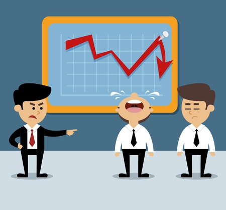 decrease: Business scene with decrease arrow chart and frustrated employees vector illustration Illustration