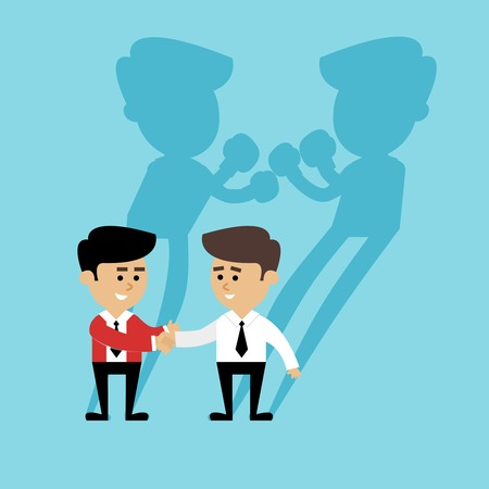 friendly competition: Business competition concept with people handshake and boxing shadow scene vector illustration