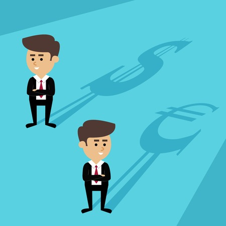 Business currency forex exchange concept with businessmen avatar and money symbols vector illustration Vector