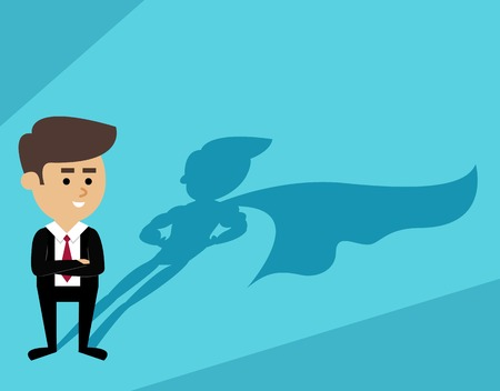 young business man: Businessman with superhero cape shadow scene vector illustration
