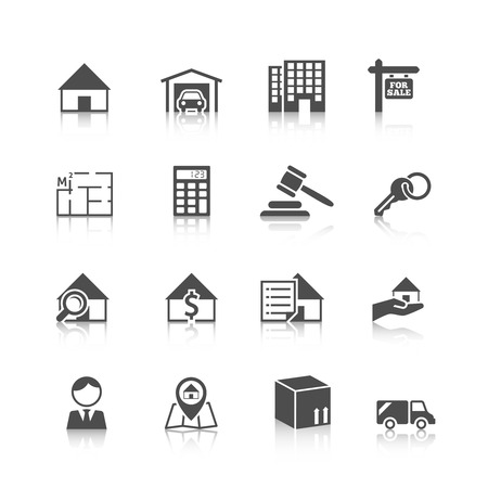 Real estate black icons set of house plan apartment valuation and choosing isolated vector illustration Illustration