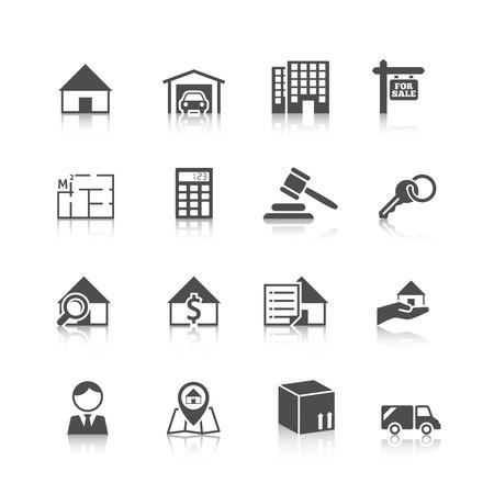 Vastgoed zwarte pictogrammen instellen van huis plan appartement waardering en het kiezen van geïsoleerde vector illustratie Stock Illustratie