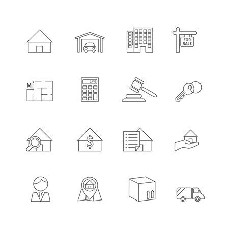Onroerend goed overzicht iconen set van commercieel vastgoed bedrijf geïsoleerd vector illustratie