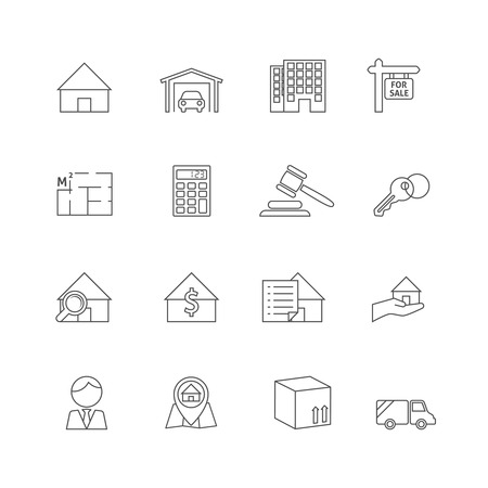 Real estate outline icons set of commercial property business isolated vector illustration Иллюстрация