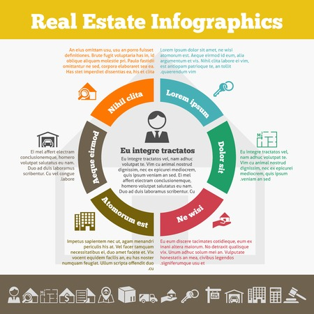 symbols commercial: Real estate inforgaphic set with property icons and pie chart vector illustration