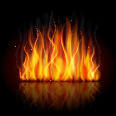 campfire: Burning fire campfire hot flame strokes realistic on dark background vector illustration