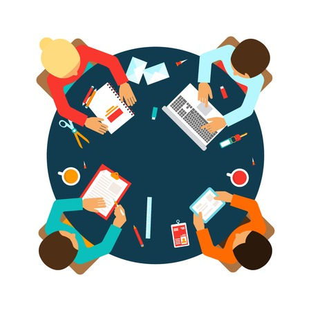 business team: Business men team office meeting concept top view people on table vector illustration