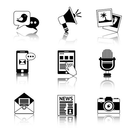 Media nieuws sociale communicatie zwart-witte pictogrammen die met de envelopmicrofoon geïsoleerde vectorillustratie van de krantenpost worden geplaatst