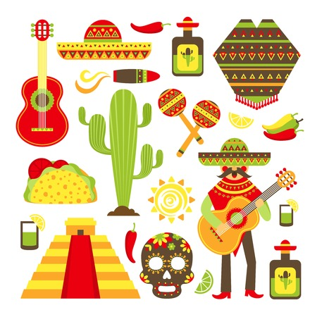 mexican: Mexico travel symbols decorative icon set isolated vector illustration Illustration