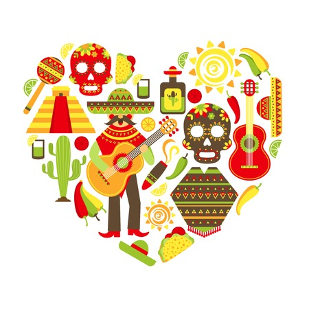 spanish food: Mexico travel traditional symbols decorative icon set in heart shape vector illustration