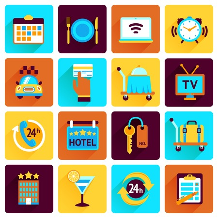 hotel stay: Hotel booking perfect services flat icons set with bell food luggage isolated vector illustration Illustration