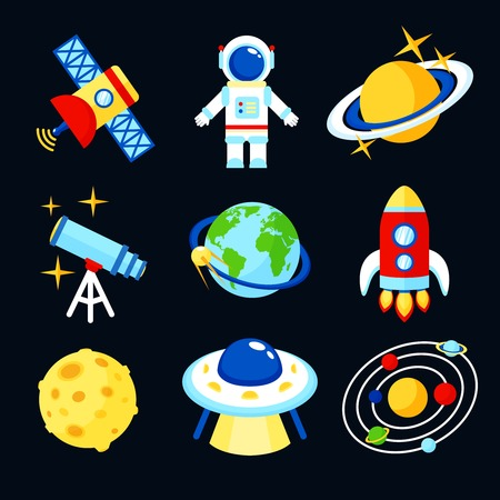 telephone cartoon: Space and astronomy icons set of earth rocket moon astronaut isolated vector illustration