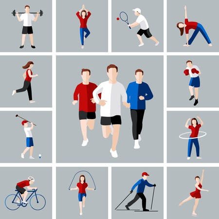 Sport en vrije tijd mensen activiteiten pictogrammen instellen geïsoleerd vector illustratie