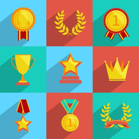 at first: Award icons colored set of trophy medal winner prize champion cup isolated vector illustration Illustration