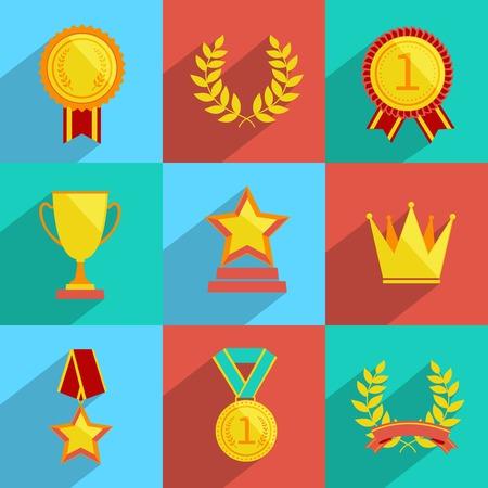 primer lugar: Iconos Premio de colores Conjunto de aislados medalla trofeo Copa de campe�n premio ganador ilustraci�n vectorial