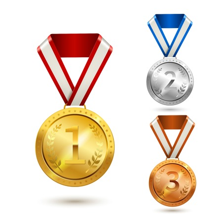 Gold silver and bronze medal awards isolated vector illustration Vector