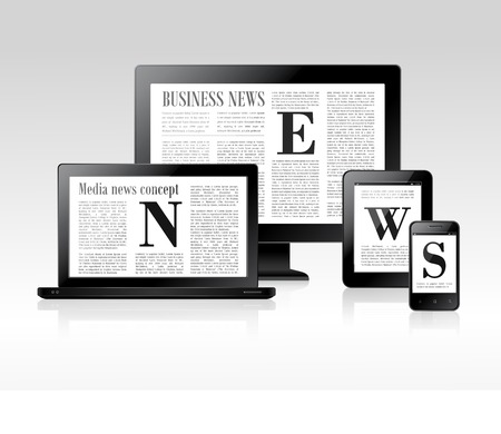 Media business news concept with pc laptop tablet smartphone vector illustration Vector