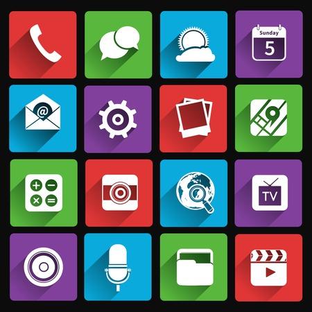 携帯電話アプリケーション フラット ギャラリー天気映画分離ベクトル図のアイコンを設定 写真素材 - 32133593