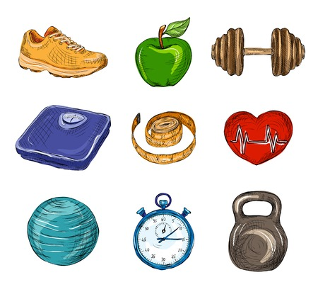 hand weight: Fitness bodybuilding diet colored sketch icons set isolated vector illustration