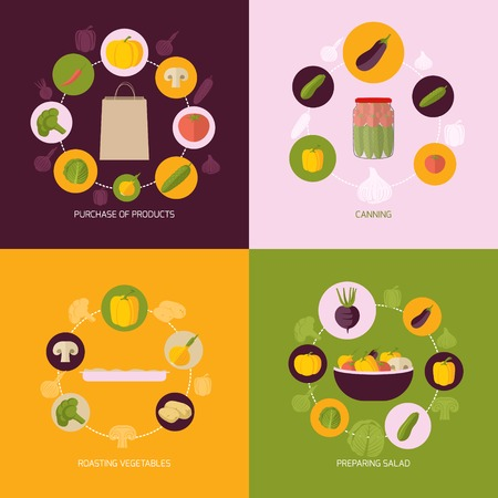 canning: Food vegetables flat set of products purchase canning roasting preparing salad isolated vector illustration
