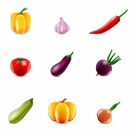 capsicums: Food vegetables realistic set of paprika garlic chili isolated vector illustration.