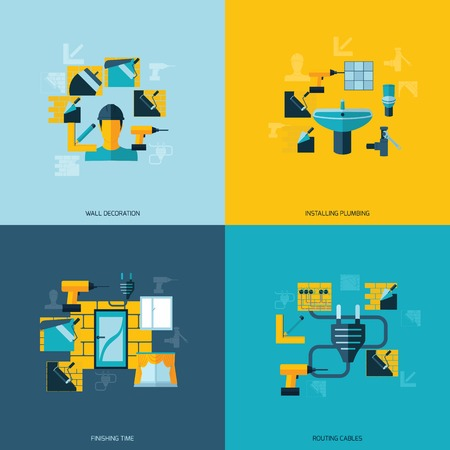 installing: Home repair flat set with wall decoration installing plumbing isolated vector illustration Illustration