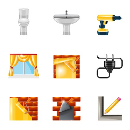 Home interior repair icons set with wallpaper roller trowel joiner isolated vector illustration Vector