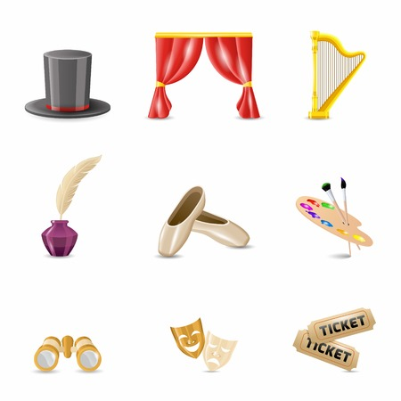 Theatre performance and acting icons set realistic isolated vector illustration