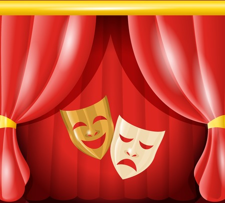 tragedy: Theater happy and sad masks on red curtain background vector illustration Illustration