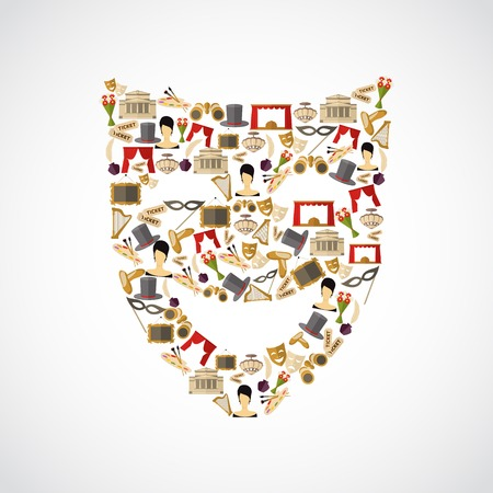 comedy show: Theatre entertainment performance flat icon set in mask shape vector illustration Illustration