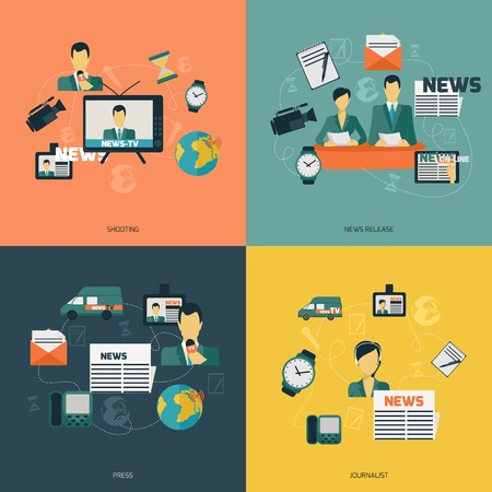 press news: News flat set with shooting release press journalist isolated vector illustration.