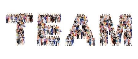 Groep mensen volwassen professionals in teamverband belettering vorm poster vector illustratie