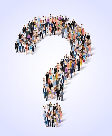 question mark: Gruppo di professionisti persone adulte in questione marchio forma di illustrazione vettoriale manifesto Vettoriali
