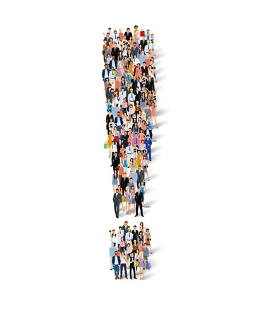 Group crowd of people in exclamation mark shape poster vector illustration Illustration