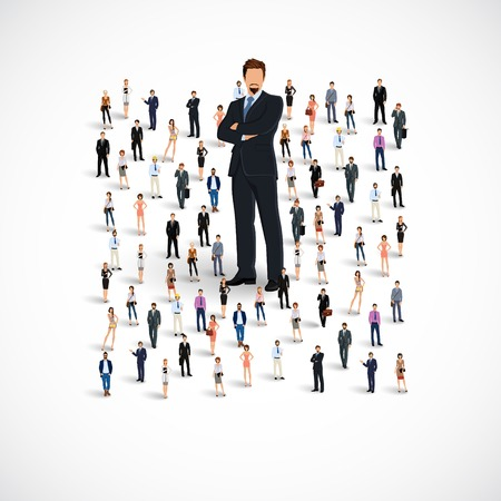 leadership: Group of people adult professionals business team with huge figure of young man vector illustration