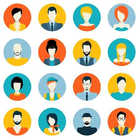 simbolo de la mujer: Gente avatar macho y hembra humana se enfrenta a iconos sociales de la red establecidos aislado ilustraci�n vectorial