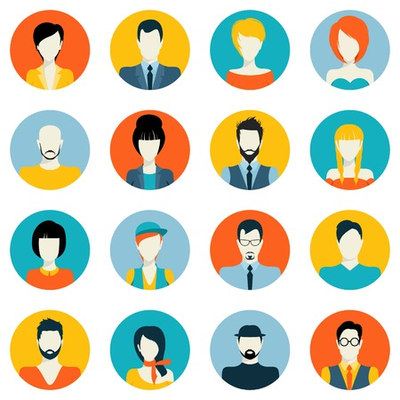 People avatar male and female human faces social network icons set isolated vector illustration Ilustração