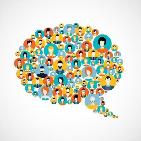caricaturas de personas: Concepto de red social con avatares masculinos y femeninos en la burbuja del discurso iconos ilustraci�n vectorial Vectores