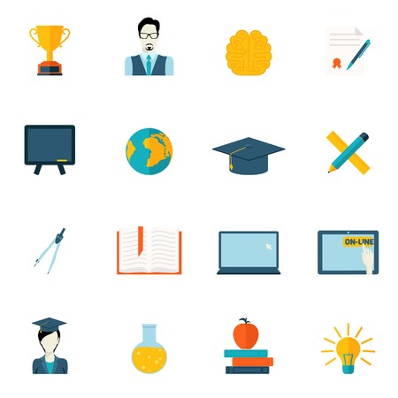 pencil symbol: Education school university e-learning flat icons set with graduation science computer elements isolated vector illustration Illustration