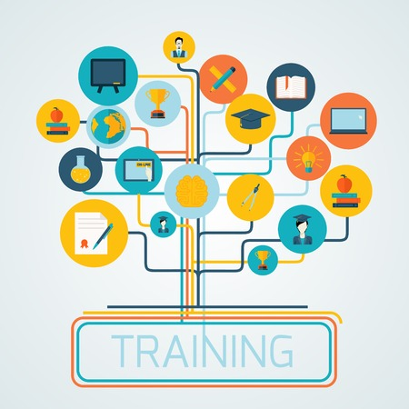 university: Tree with education icons and studying knowledge training symbols set vector illustration