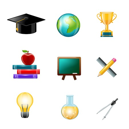 Education school supplies realistic icons set with graduation hat globe award isolated vector illustration Vector