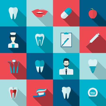 dental pulp: Teeth dental health flat icons set with nurse pulp dentist caries isolated vector illustration