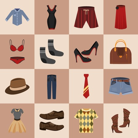 jeans skirt: Male and female fashion stylish casual clothes and  accessory icons set vector illustration