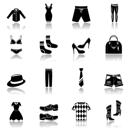 jeans skirt: Male and female fashion clothes underwear and accessory black icons set vector illustration