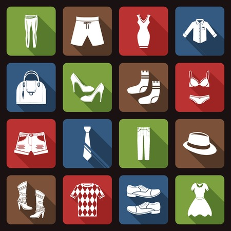 dress shirt: Male and female fashion clothes underwear and footwear flat icons set vector illustration