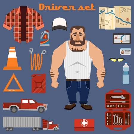 truck driver: Driver character clothes and professional equipment decorative elements set isolated vector illustration