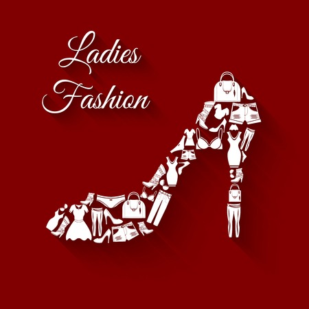 Woman clothes elements in high heel shoe shape concept vector illustration Vector