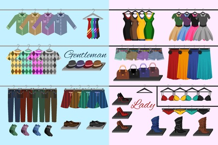 jeans skirt: Male and female fashion accessories on shelves clothes shop concept vector illustration. Illustration
