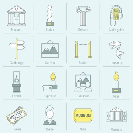 Museum pictogrammen vlakke lijn in te stellen van het standbeeld kolom audiogids geïsoleerd vector illustratie Stock Illustratie