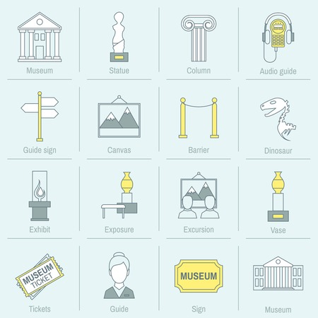 Museum icons flat line set of statue column audio guide isolated vector illustration
